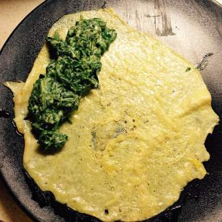 spinach down one side of omellette